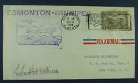 Canada cacheted FFC #AAMC2853n Edmonton - Winnipeg #C1 Signed by Postmaster F-VF