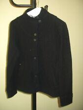 Women's Black Ibex Wool Button Coat Jacket Small / Medium = Measure
