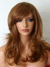 Light Brown Auburn Ginger wavy Womens Fashion costume real natural adult wig F10
