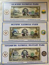 Lot Of 3 - Atb Enhanced $2 Bill Collection - Glacier Olympic Vicksburg National