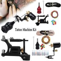 Complete Tattoo Kit Motor Pen Machine Gun Color Inks Power Supply Needles Set