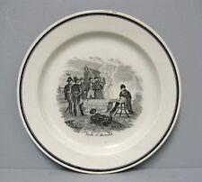 Assiette: La veille d'Austerlitz. Napoléon 1er. Faïence Sarreguemines 19e.