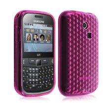 Housse coque étui gel damier transparent pour Samsung Chat 335 S3350 couleur ros