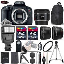 Canon EOS Rebel T7i SLR Camera 800D + 50mm 1.8 -3 Lens Kit + Flash+ 64GB &MORE