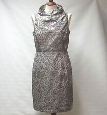 MARC NEW YORK ANDREW MARC LEOPARD PRINT COWL NECK PENCIL DRESS LINED UK 12