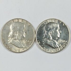 Lot of 2- 1956 and 1958-D Franklin Silver Half Dollars 190283B