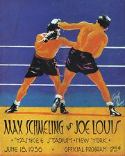 Max Schmeling vs Joe Louis Program Cover, 8x10 Color Photo