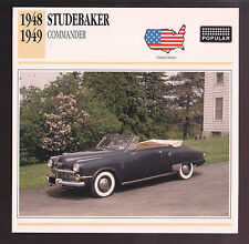 1948-1949 Studebaker Commander Convertible Car Photo Spec Sheet Stat CARD