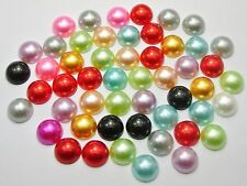 100 Mixed Colour Acrylic Half Pearl Flatback Round Bead 12mm Scrapbook Craft