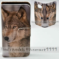 For HTC Series Mobile Phone - Snow Grey Wolf Print Flip Case Wallet Phone Cover