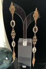 Vintage Miriam Haskell Large Bezel Set Crystals Gold-Tone Chandelier Earrings