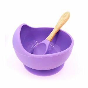 Silicone Baby Feeding Bowl 1set Tableware Waterproof Spoon Non-Slip Crockery BPA