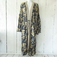New Easel Maxi Kimono Cardigan M Medium Blue Floral Tie Front Prairie Cottage