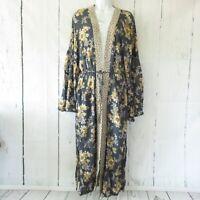 New Easel Maxi Kimono Cardigan L Large Blue Floral Tie Front Prairie Cottage