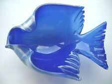 Archimede Seguso Murano Opalescent blue White Italian Art Glass Bird Ring Bowl