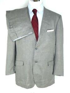 Bianco Brioni Men's Suit US 46L Modern FitLight Grey 100% Linen 2-Btn Flat Front