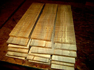"""FOUR (4) THIN, KILN DRIED, SANDED CURLY MAPLE 24 X 6 X 1/4"""" LUMBER WOOD"""