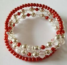 New Handmade Silver Clear and Red Burgundy Colour Beaded Memory Wire Bracelet.
