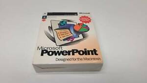 Vintage 1995 Microsoft Powerpoint 4.0 Macintosh install disks box manual SEALED
