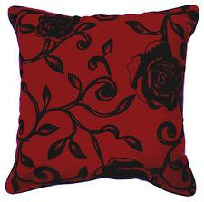 UF81a Black Rose Flower Red Velvet Style Cushion Cover/Pillow Case *Custom Size*