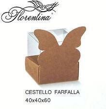 Scatola bomboniera Cestello farfalla 45x45x45 mm Avana  n 40 pz - art. 35482