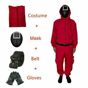 Squid Game Adult Guard Jumpsuits Halloween Costume Red Romper Dress Gloves Belt