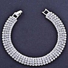Tennis Bracelet Silver Plated Wide 12mm Clear Crystal Snake Fashion