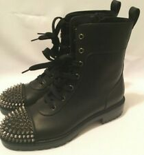 Christian Louboutin TS Croc Flat Black Leather Spike Combat Ankle Boot 39.5