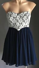Stunning  DOTTI Navy Blue & White Lace Strapless Empire Waist Dress Size 10