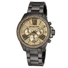 New Michael Kors Wren Black Gold Chronograph Womens Glitz Stainless Watch MK5961