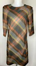 LAURA ASHLEY • Brown Orange Plaid Check Autumn Winter Shift Dress • Size 8