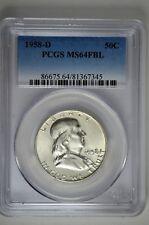 1958 D 50c Silver Franklin Half Dollar PCGS MS 64 FBL
