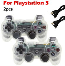 2x Wireless Game Controllers For Sony PS3 Playstation 3 Clear White