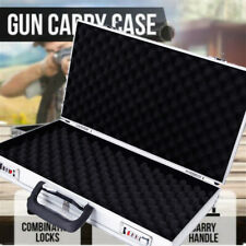 Aluminum Framed Gun Pistol Handgun Lockable Box Hard Storage Carry Case w/Handle