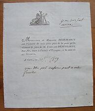 DESESSARTS, 1809, FAIRE-PART ORIGINAL DE DECES
