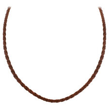 "3mm Brown Braided Leather Cord 16"" Necklace with 925 Sterling Silver Clasp"