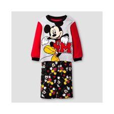 Disney Boy's Mickey Mouse Pajamas Toddler 3T Red Black New NWT 2 Piece Fleece