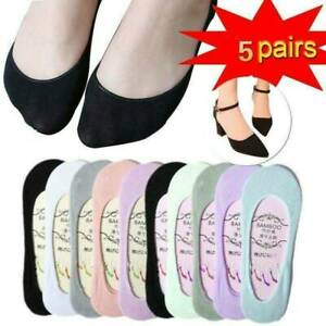 5 Pairs Women Invisible No Show Nonslip Loafer Boat Line Cut Cotton Soft Socks