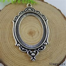 50815 Antique Silver Alloy Hollow Oval Setting Tray Pendants Crafts Cameo 4pcs