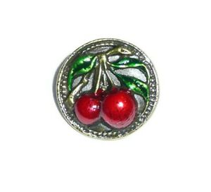 """Pretty Cherries On The Tree Antique Reproduction Metal Button 5/8"""" Fruit Button"""