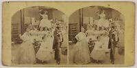 Francia Scena Artistica Costumi Foto Stereo L5n13 Vintage Albumina c1860