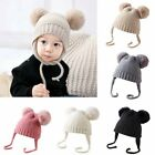 Newborn Baby Winter Warm Fur Pom Hat Bobble Knit Beanie Cap for Toddler Kids US