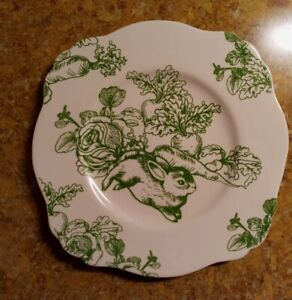 Bunny Toile by J. Willfred Green White Luncheon Plate