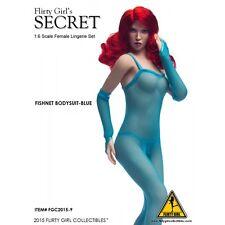 """Flirty Girl Collectibles 1/6 Scale 12"""" Secret Fishnet Bodysuit Blue FGC2015-9"""