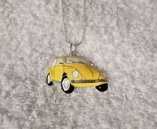 CAR Inspired Large Charm NECKLACE Herbie Lovebug Yellow Beetle