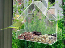 GLASS WINDOW BIRD FEEDER TABLE SEED PEANUT HANGING SUCTION CLEAR VIEWING