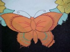 Vintage Linen Tablecloth Hand Embroidered Applique Butterflies 1930s Era Find