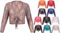 Womens Long Sleeves Ladies Floral Lace Bolero Crop Cardigan Shrug Top Plus Size