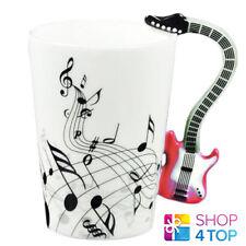 ELECTRIC BASS GUITAR HANDLE SHAPE MUG CUP COFFEE TEA MUSIC NOTES CERAMIC RED NEW