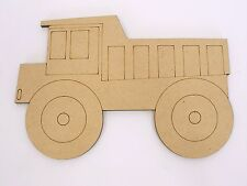 One Wood Wooden Mining Truck Shape MDF 10cm High Kids Craft DIY Paint Mobile